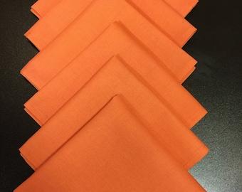 Cotton Fabric Napkins Orange Set 6