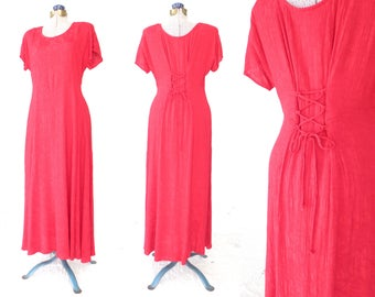 scarlet corset dress * vintage 90s dress * damask maxi dress * medium / large