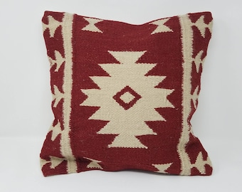 Free Shipping Handwoven Kilim pillow 16 x 16 decorative pillow