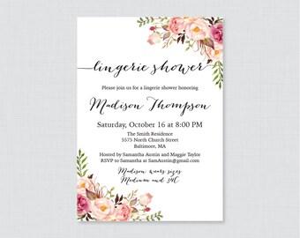 Pink Floral Lingerie Shower Invitation Printable or Printed - Rustic Garden Lingerie Shower Invites - Pink Flower Bachelorette Party 0024