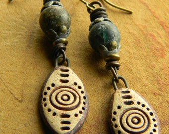 Cave Drawing Earrings Artisan Ceramic Ancient Blue Apatite Copper
