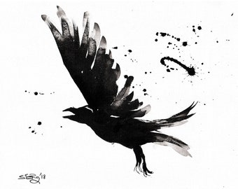 Crow painting - Ink on 8x12in canvas, A4, 21x30cm - abstract flying crow 2