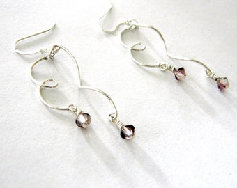 Sterling Silver Knot and Wave Drop Earrings Chandelier Earrings with Lilac Beads