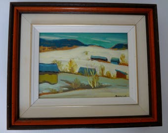 "Canadian Fine Art Framed Oil on Board ""Country Landscape"" by Canadian (Quebec) artist MARIO MAURO (1920-1985)"