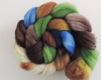 merino nylon,Moor Dragon, superwash sock blend, top,handpainted fiber for spinning,3,5oz