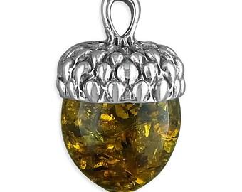 Cognac Amber Acorn Sterling Silver Pendant