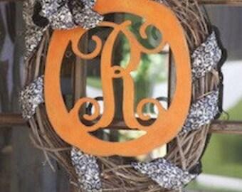 Unfinished Monogram Wooden Pumpkin Door Hanger! Perfect decoration for Halloween and Fall!