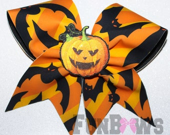 Gone Bat Crazy - Fun Cheer Bat and 3-D pumpkin Halloween Bow  - By FunBows - READY TO SHIP
