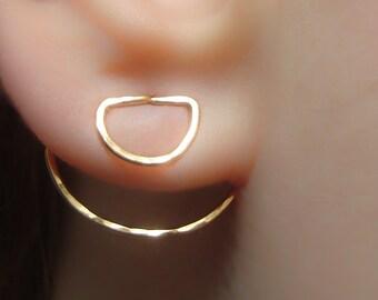 Ear Jacket, Ear Jackets, Ear Cuff Jacket, Ear Pins, Ear Jacket Earring, Floating Earrings, Gold Earrings,Ear Jacket Gold,Front Back Earrings