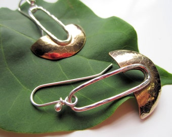Gold and Sterling Blade earrings