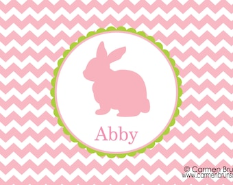 Personalized Easter Placemat,Easter, Chevron, Personalized Placemat, kids placemat, kitchen placemat, monogram, Family placemat, pink, bunny