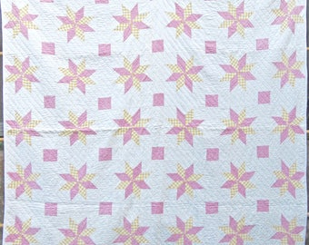 Star of LeMoyne Antique Quilt in Pink and Gold Gingham Checks
