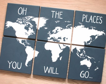 World map canvas 6 12x12s custom colors hand oh the places you will go world map on canvas 6 12x12s custom colors and color combinations hand painted original art grey gray gumiabroncs Images