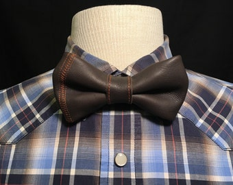Genuine Leather Stitched Bow Tie