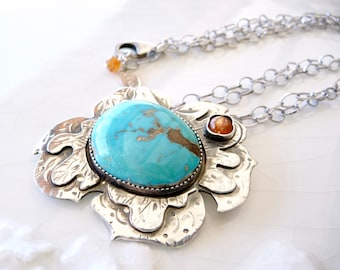 "Dahlia Necklace - Rare ""Blue Gem"" Turquoise, Sunstone, Sterling Silver - OOAK"