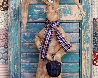 Primitive Rabbit Doll with Basket, Rustic Rabbit, Grungy Bunny Doll, Farmhouse Decor Easter Rabbit Easter Decor Spring Decor - READY TO SHIP