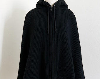 Zipped Hooded Wool Cape, Black, Size S-L