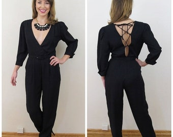 30% Off Sale 80s Jody California Black Deep Plunge Backless Lace Up Jumpsuit, Size XS