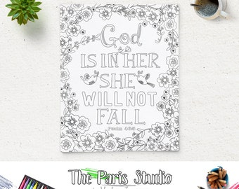 Psalm 46:5 Bible Verse God is in her she will not fall Printable Art Coloring Page Nursery Art Instant Download Adult Coloring Art Print
