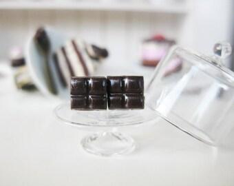 Mini Chocolate Stud Earrings _ 1/12 Dollhouse Scale Miniature Food _ Polymer Clay