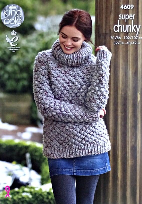 Womens Knitting Pattern K4609 Ladies Long Sleeve Polo Neck