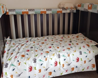 Soft organic cotton bedding set (quilt cover and pillow case) for baby cot or toddler/ child bed
