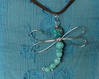 Handmade Dragon Fly Pendant Necklace on Leather Cord Turquoise Memorial Totem