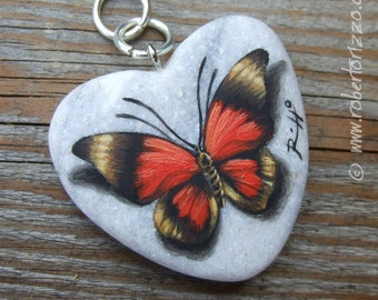 Heart Shaped Red Butterfly Pendant | Hand Painted Jewels