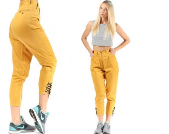 Tapered Ankle Pants 80s High Waist Mom Trousers COTTON Minimalist Fitted Hips Corset Strap Ends Mustard Yellow Pockets Extra Size Small W 24