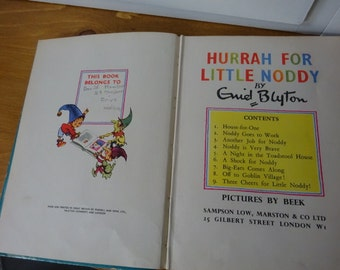 Hurrah For Little Noddy by Enid Blyton/ Children's book/ Vintage/ from 1950's