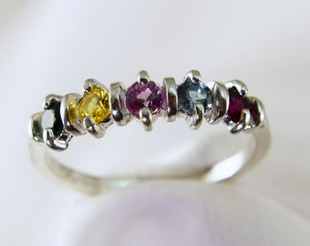 Mothers Ring, Mother's Birthstone Ring, Grandmother's Ring, or Family Ring, Silver 2-5 Gems(Gold Request Pricing) Free Rhodium Plating