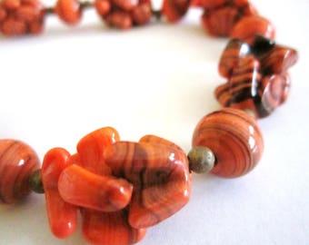 1920s Necklace w/ Beautiful orange and black Stones