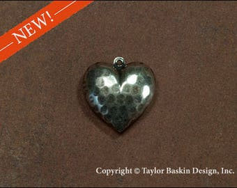 Antique Sterling Silver Plated Hammered Double-sided Heart Charm (item 2616-medium AS) - 6 Pieces
