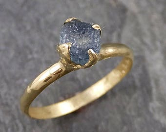 Raw Sapphire montana sapphire 18k yellow Gold Engagement Ring Blue Wedding Ring Custom Gemstone Ring Solitaire Ring byAngeline 1041