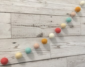 Felt ball garland in 'Tilly' - pom pom, home decor, nursery decor, playroom, bunting
