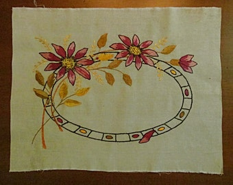 Linen Panel, Embroidered Floral Design, Arts and Crafts, Mission, Craftsman Style, Purple and Gold