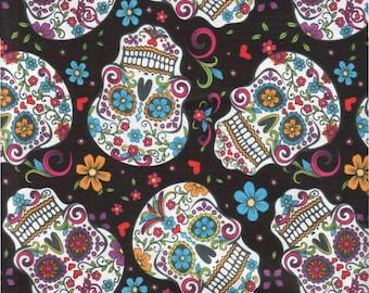 Sugar Skull Cotton Fabric. - 1 yard -
