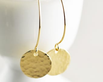 Hammered Disc Earrings, Long Gold Disc Earrings, Textured Coin Earrings