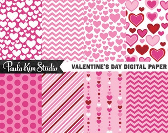 Heart, Chevron and Stripe Pattern Digital Paper Pack, Love Papers, Valentine's Day Backgrounds
