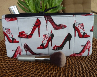 Handcrafted I Love Shoes Zipper Pouch/Travel / Cosmetic / Gadget Bag