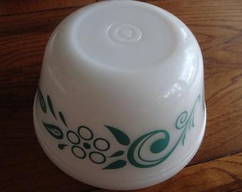 Vintage Federal Milk Glass Bowl Teal Green Leaves