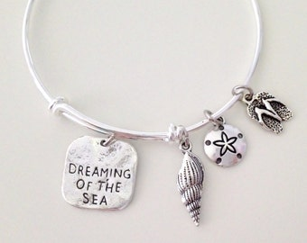 Dreaming Of the Sea Adjustable Bangle Bracelet, Bangle Charm Bracelet,  Gift For Her, Stacking Bangle
