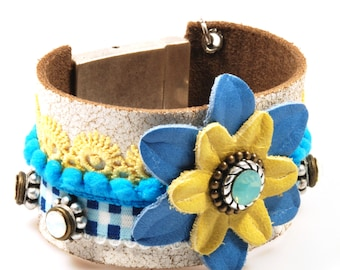 Leather cuff blue yellow - wide bracelet with leather flower - Swarovski - hippie style - SALE jewelry