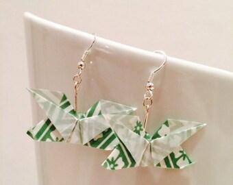 Origami butterflies green earrings