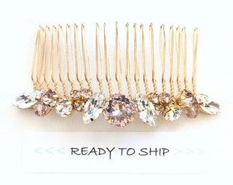 RTS vintage rose Rhinestone Wedding Hair Comb, Rhinestone Bridal Comb, Swarovski Pearl Wedding Comb,  Simple Pearl Comb for Wedding