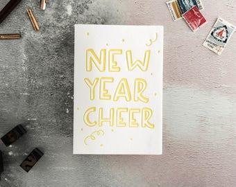 New Year Cheer Letterpress Happy New Year Card