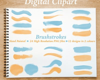 Watercolor Clipart, Brushstroke Clipart - High Quality Hand Painted Digital Brushstrokes - Aqua and Orange with Transparent Background