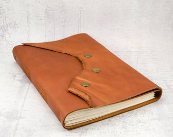 Sturdy brown leather journal sketchbook, unique notebook A5, writing journal, travel journal