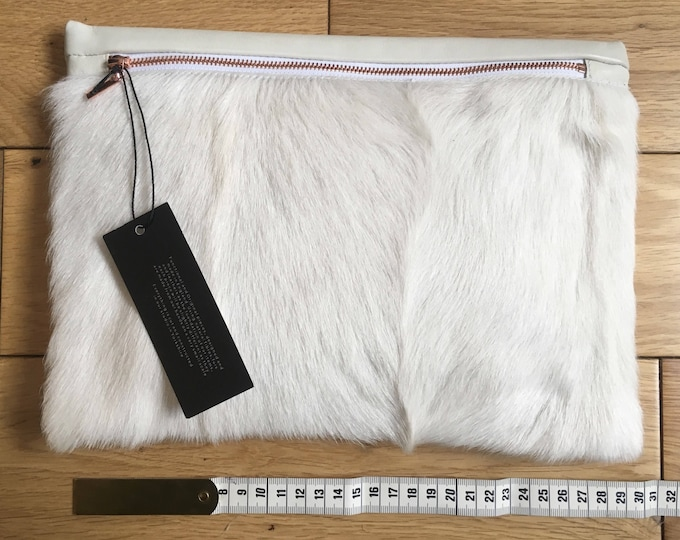 Cream ivory goat fur and cowhide leather clutch bag pouch with Rose Gold zipper
