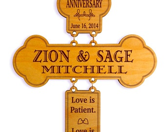 25th Anniversary Gift - Gifts for Couples - Personalized Silver Anniversary Gift - 25 Years of Marriage Anniversary - Cross